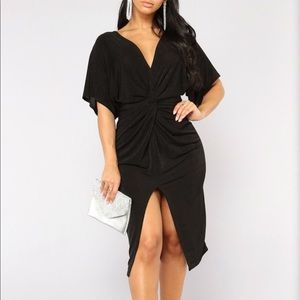 Fashion nova black knot dress